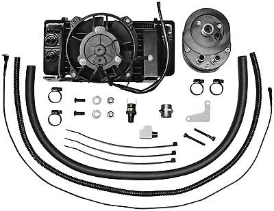 Jagg 751-FP2400 Horizontal Low-Mount 10 Row Fan-Assisted Oil Cooler Kit - Black