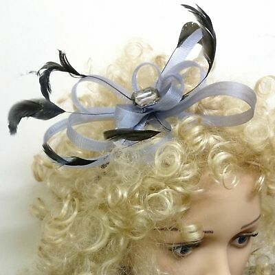 Grey and black fascinator with looped ribbon feathers and gem on alice hair band