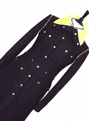 Nwt Luxury Ladies D&g Dolce & Gabbana Black Peacoat Overcoat 38R