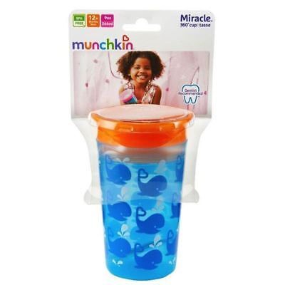 Munchkin Miracle 360 Sippy Cup Blue Whales 266ml 1 2 3 6 12 Packs