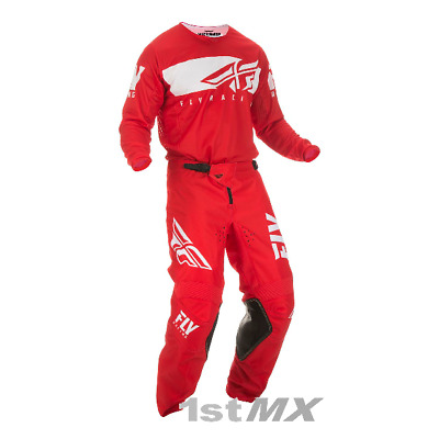 Fly Racing Kinetic Shield Red White Motocross Offroad Race Kit Gear Adult