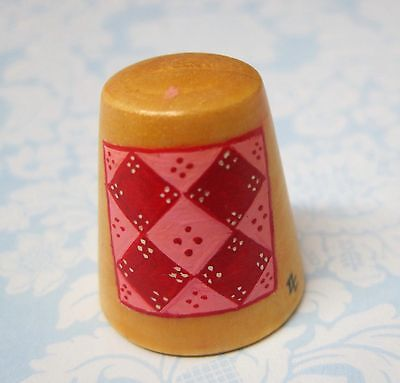 Hand Painted Signed Numbered Thimble  Broken Sash Quilting Block Pattern M7