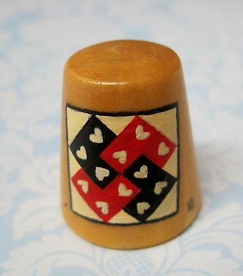 Hand Painted Signed Numbered Thimble Card Tricks Quilting Block Pattern M7