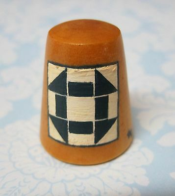 Hand Painted Signed Numbered Thimble Churn Dash Quilting Block Pattern M7