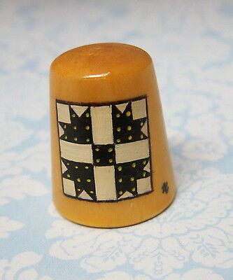 Hand Painted Signed Numbered Thimble Goose Tracks Quilting Block Pattern M7