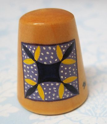 Hand Painted Signed Numbered Thimble Turkey Tracks Quilting Block Pattern M7