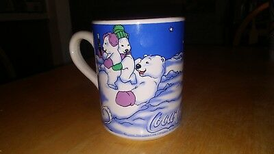 Preowned Coca Cola Gibson 1999 Polar Bear Coffee Mug Cup Playing in the Snow