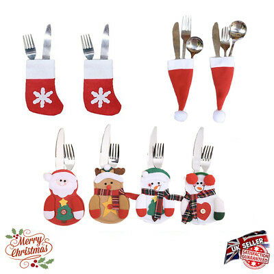 Santa Socks Christmas tableware Silverware Cutlery holder Bag Table Decorations