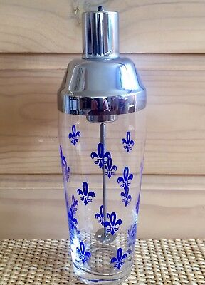 Vintage Glass Battery Operated COCKTAIL MIXER with Blue FLEUR DE LIS Pattern.