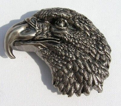 Silver US American Eagle Head Western belt buckle to fix to own belt 3d New