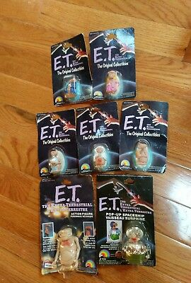 Vtg 1982 LJN E.T. LOT Of 7 Figures poseable Spaceship wind pop up & PVC NOS New