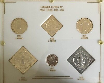 6 Coin Silver Hungarian Pengo Pattern Set (Proof 1929/1938)