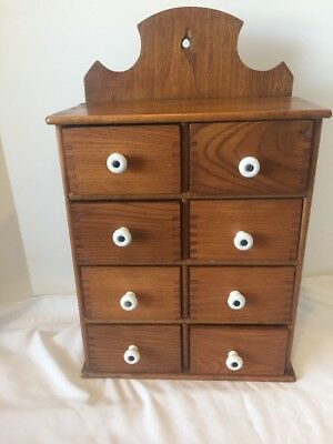 Antique Primitive Hanging Spice Cabinet Chest Wood 8 Drawers Kitchen