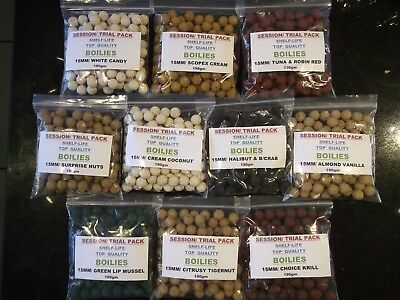 CARP FISHING,DAY SESSION,TRAIL PACK,TOP QUALITY 15MM BOILIES.190g VANILLA ALMOND