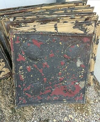 Lot Of 13 Antique Architectural Salvage Pressed Tin Molding Tile 52 Sq Feet
