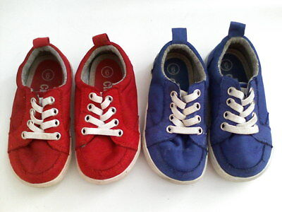 Lot of 2 Pairs: CIRCO Size 6 RED BLUE Canvas Sneakers Shoes Toddler Girls Boys