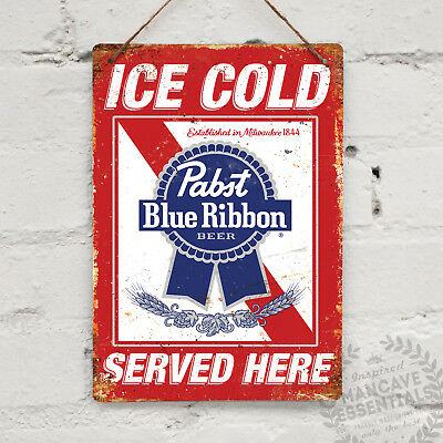 Ice Cold PABST BLUE RIBBON Vintage Metal Wall Sign Plaque Retro Pub Bar Mancave