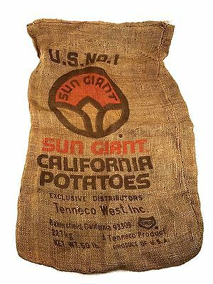 Vtg SUN GIANT Burlap Potato Sack Old California Advertising Grocery Produce Bag