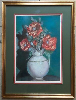 Original Irish Art Pastel Drawing Painting Still Life Flowers Poppies In A Jar