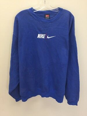 VINTAGE NIKE EMBROIDERED Spell Out Sweatshirt Crewneck Size 2XL Blue