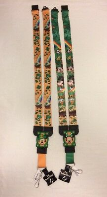 Disney Parks Mickey & Minnie Mouse Reversible Pin Lanyard St. Patrick's Day NEW