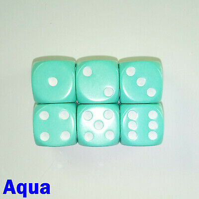 Opaque Dice Dot Spot Spotted 6x 16mm D6 Aqua Warhammer Board Game Gothic 40000