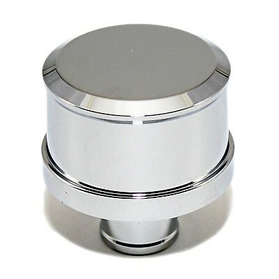 """Chrome Steel Round Push-In Breather with Washable Filter Fits 1.25/"""" ID Short"""