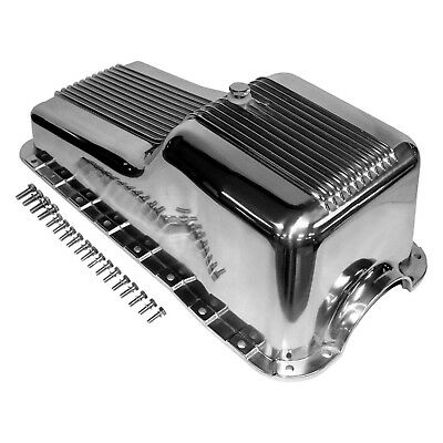 Retro Finned Aluminum Polished Oil Pan Front Sump – 62-82 SBF Ford 260 289 302