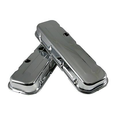 Short Chrome Steel Valve Covers - Big Block 396 402 427 502 BBC Chevy 454