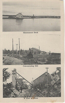 Triple View of Mines, Mills and Dock Postcard
