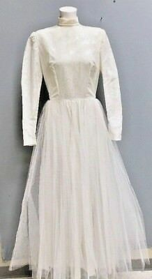 Vintage 50s 60s Textured Satin And Tulle Wedding Dress Size S
