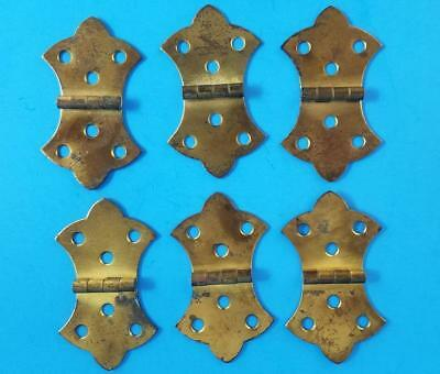 6 Vintage Brass Butterfly Hinges Cabinet Furniture
