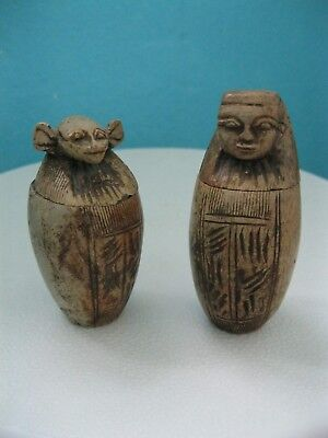 Two Vintage/antique Small Stone Egyptian Canopic Jars, One A/f See Description.