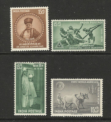 India 1959 Year set (4 issues) **/MNH and */MLH SG 422-5
