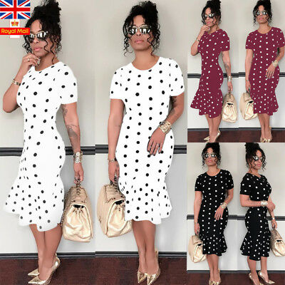 UK Women Summer Midi Dress Bodycon Dot Frilled Short Sleeve Casual Holiday Dress