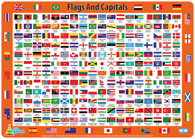 Flags & Capitals  - Children's Educational Placemat by Little Wigwam