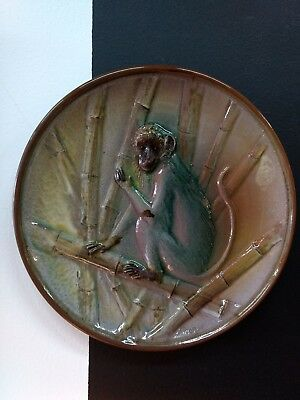 Majolica MONKEY PLATE by Maggie Bell - Barbados. Earthenware