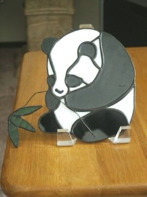 Sun catcher Panda W/Bamboo Stained Glass Window Hanging