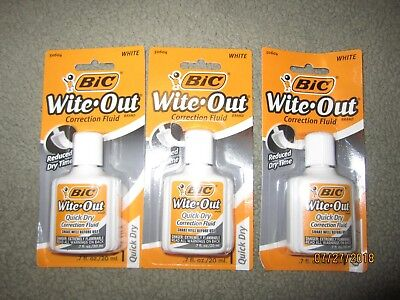 3x BIC Wite Out White out Quick Dry Correction Fluid White Out Foam Brush .7oz
