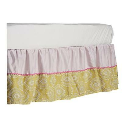 Lolli Living Green Damask / Pink Twill Cotton Crib Bed Skirt Dust Ruffle New