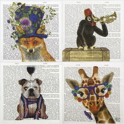 4x Paper Napkins for Decoupage Craft and Party - Fab Funky Animals Mix