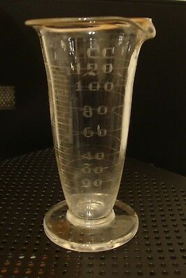 Antique Glass Apothecary / Chemistry BEAKER  Hand Etched Graduated to 120 cc