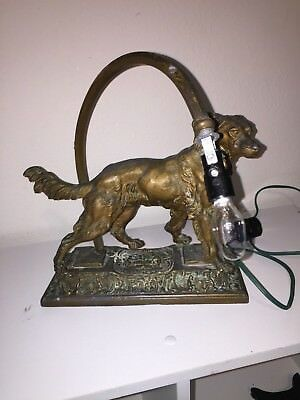 Antique Cast Spelter  Dog Figural Lamp For Restoration