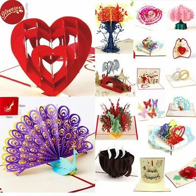 3D Pop Up Cards Valentine Lover Happy Birthday Cards Anniversary Greeting KAWAII