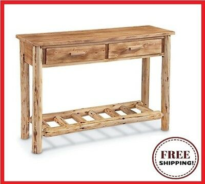 Castlecreek Pine Log Wood Sofa Table Lodge Living Room Furniture Rustic