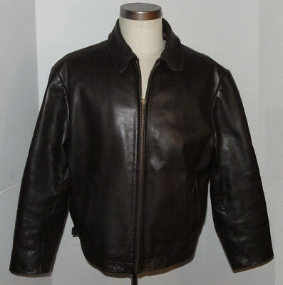 Men's Banana Republic Heavy Brown Leather Jacket! Classic Style! Waist Buckles L