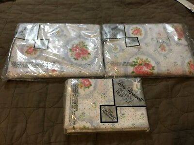 Vintage New Lady Pepperell Full Sheet Set Flat Fitted Pillow Cases Blue Roses