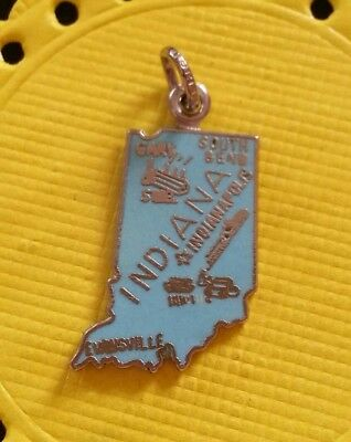 Vintage Sterling Silver and Enamel Indiana State Map Charm