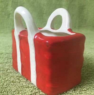 Vintage Inarco Japan Collectible Shopping Tote Marked E-6396 1940'S Red & White