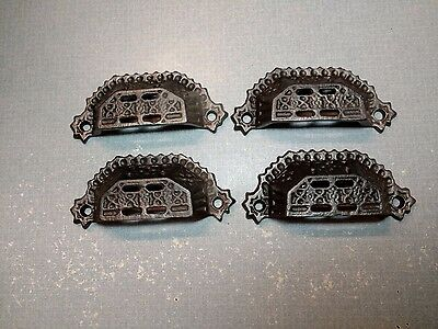 Antique Vintage Lot 4 Cast Iron Drawer Handle Cup Pulls Apothecary Victorian